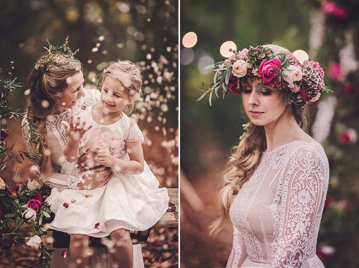 Magical Midsummers Night Dream real flower crown Wedding Inspiration