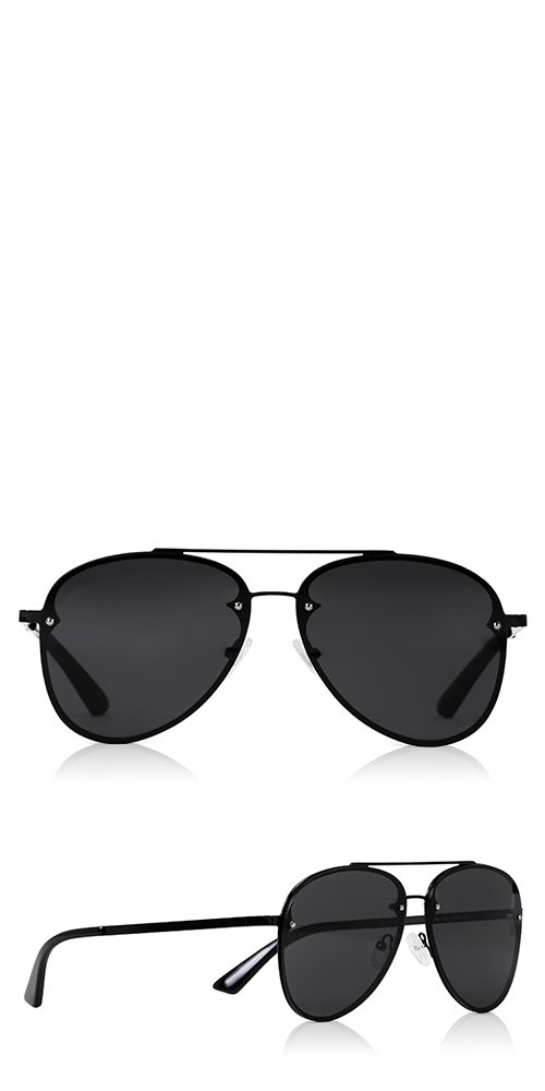 ccd988022b89 McQ Alexander McQueen Discord Light sunglasses are a classic pilot frame  featuring the McQ logo on the left temple. Details  Black frame Grey lenses  Metal ...