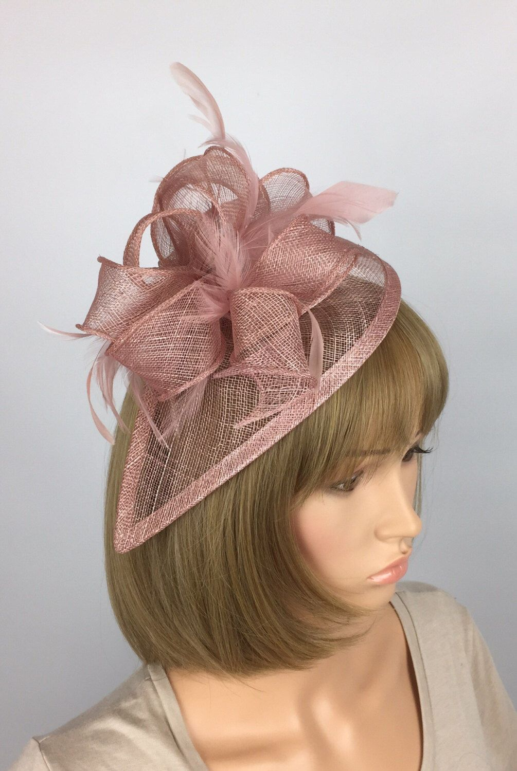 17b2aae224494 Excited to share the latest addition to my  etsy shop  Blush Pink  Fascinator teardrop Sinamay Fascinator wedding mother bride Ladies Day    Ascot races