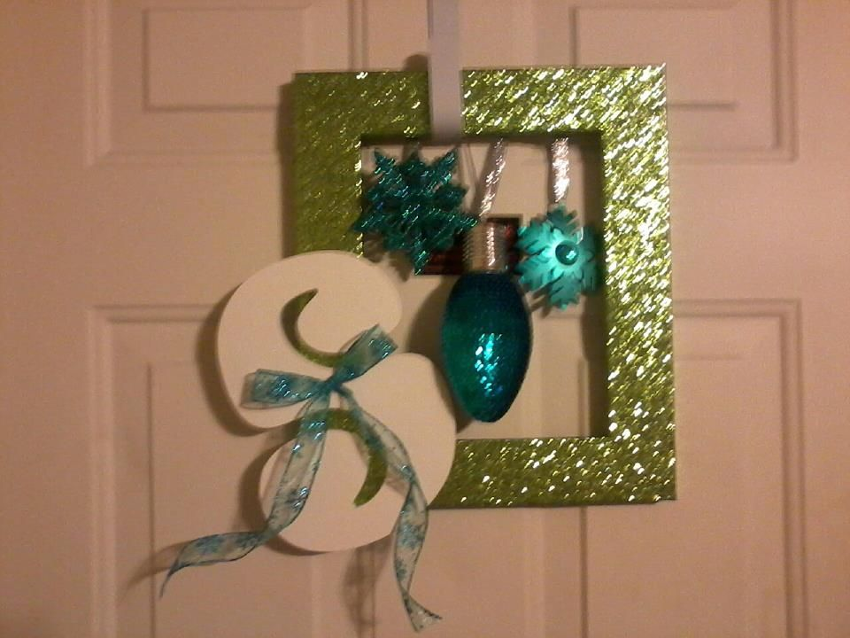 My Pinterest inspired door hanger :) A bit blurry, but oh so sparkly!