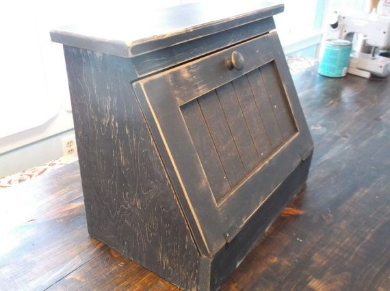 New Primitive Farmhouse WHITE PUNCHED TIN STAR WOOD BREAD BOX Shelf Cabinet