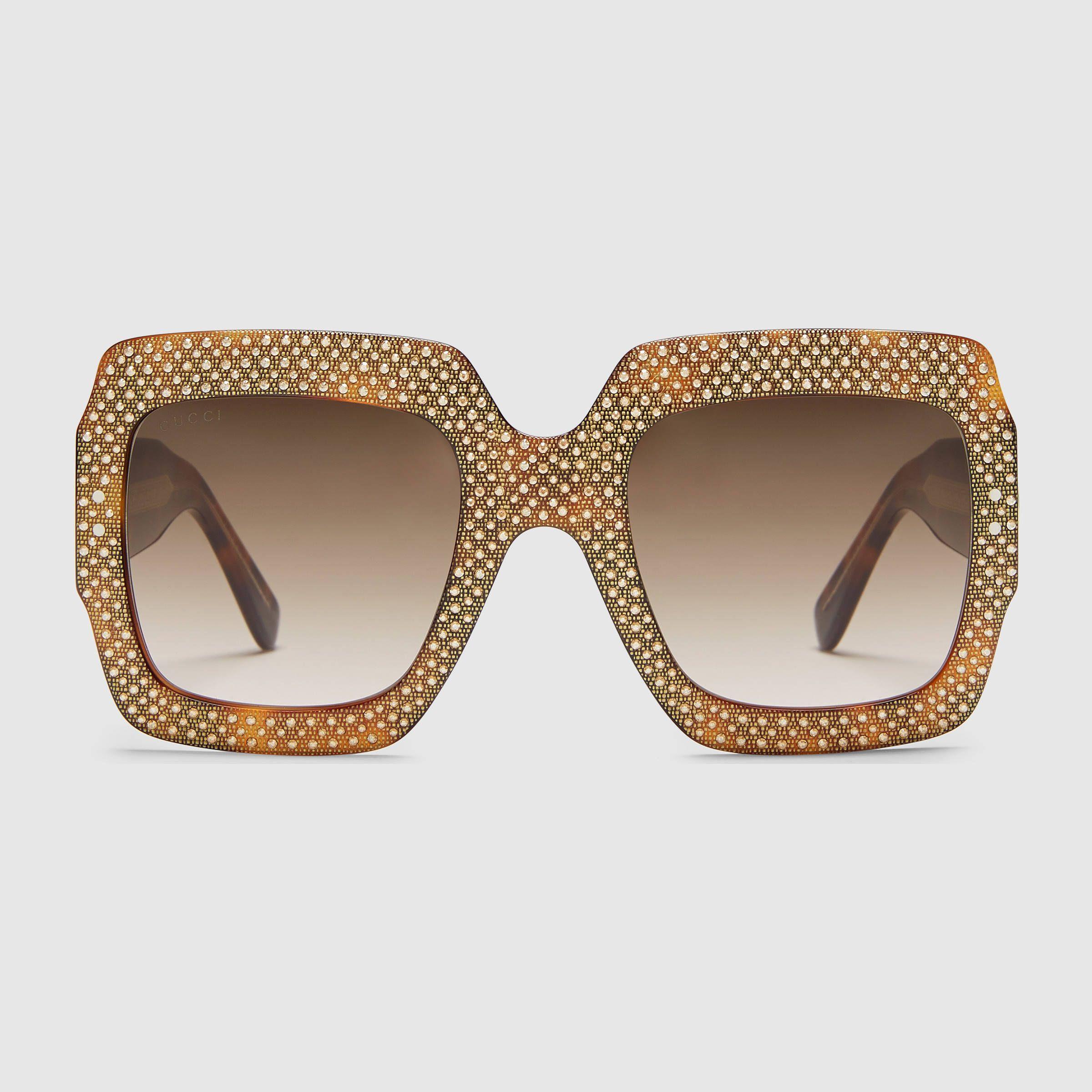 f533da0282a6d Oversize square-frame rhinestone  sunglasses  gucci  aw16  fall ...