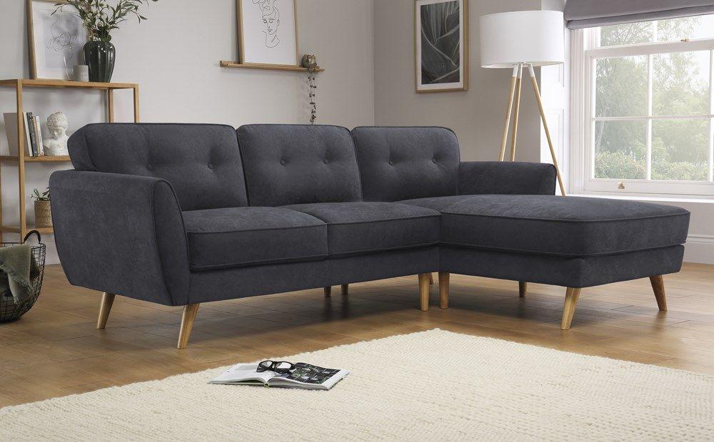 Harlow Slate Grey Plush Fabric L Shape Corner Sofa Rhf Corner Sofa Corner Sofa Living Room Furniture