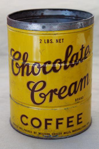 Vintage Chocolate Cream Brand Coffee Can Mustard Yellow Metal Can W Great Advertising Graphics Coffee Cans Vintage Coffee Coffee Tin