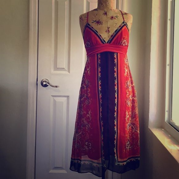 scarf like maxi dress red paisley & black edge scarf style; spaghetti straps that cross at back; low back zip & hook closure; mid calf length; professionally altered to fit petite size Dresses Maxi