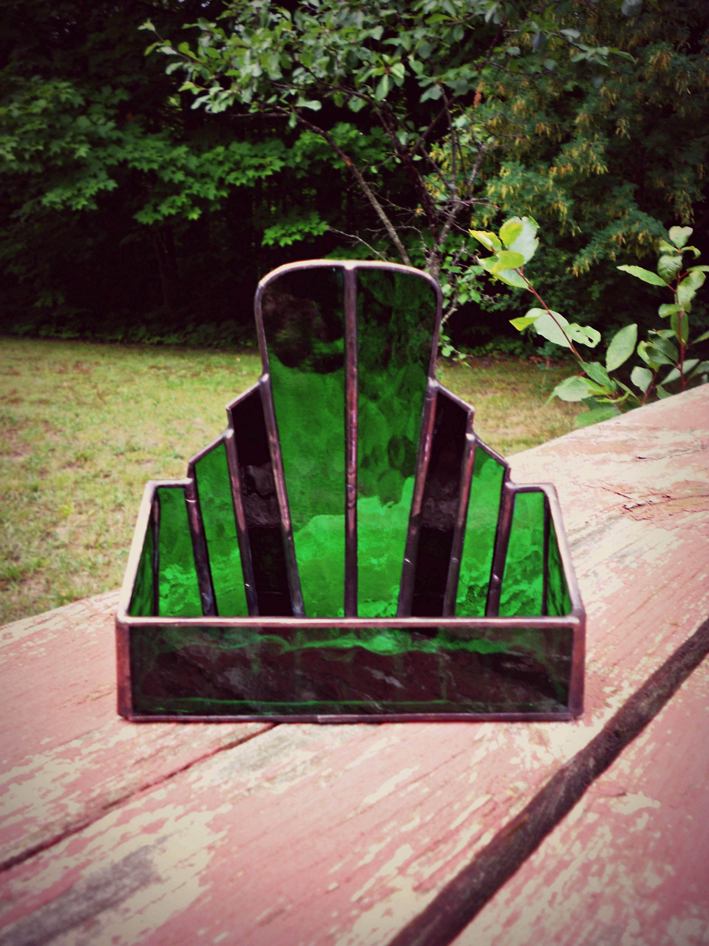 stained glass art deco business card holder | STAINED GLASS BOXES ...