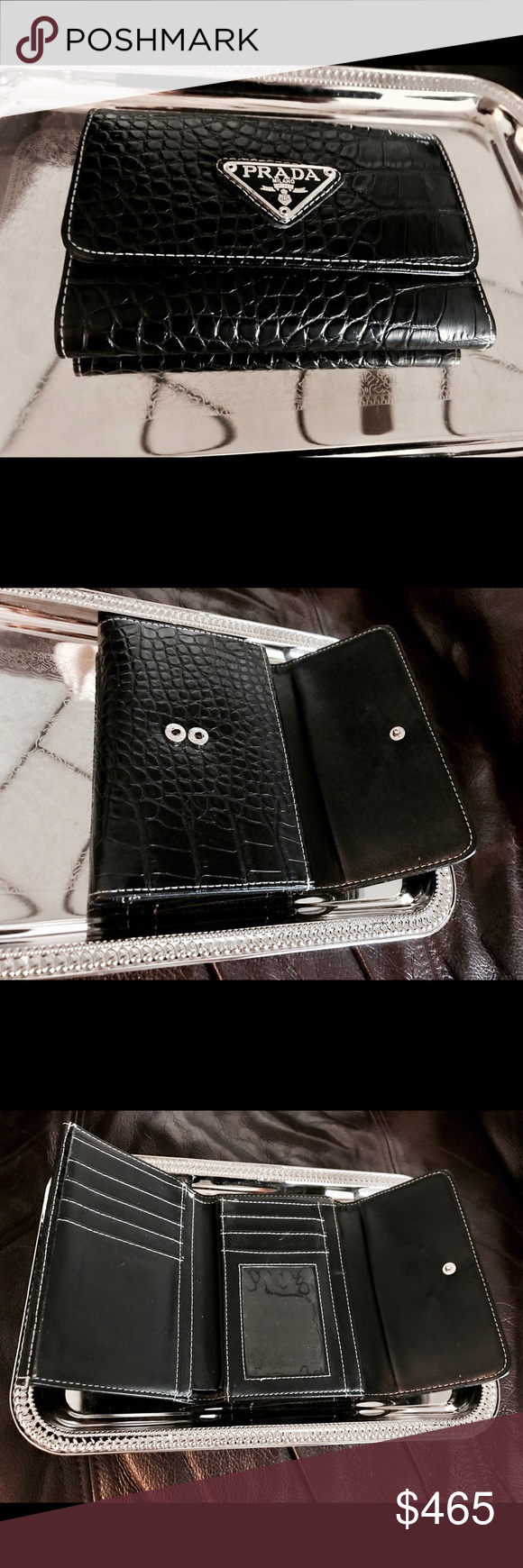 bd121b3a29be PRADA Triflold Black Leather Snakeskin Wallet. Like New, very high quality.  Front button
