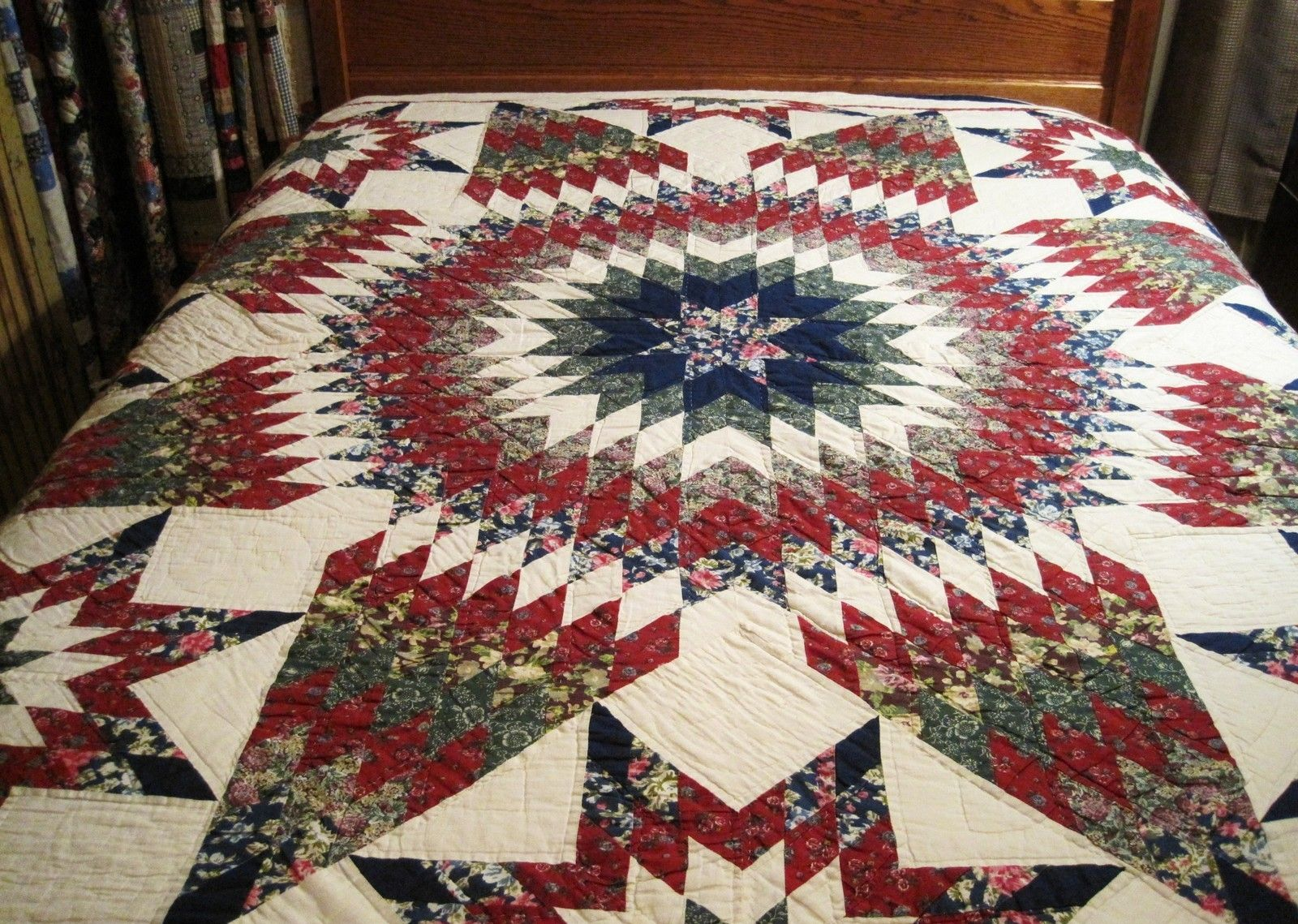 Vintage Reds Greens Blues Texas Star Quilt Quilts Blue