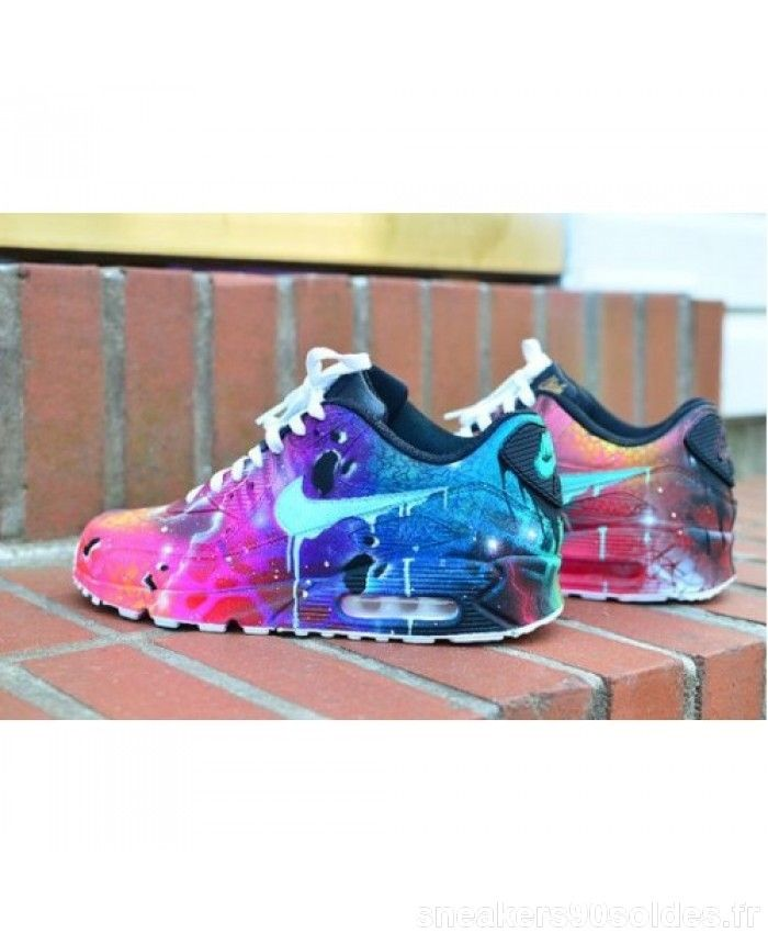 the best attitude d635c 8c0e6 Vente Chaussures De Sport Nike Air Max 90 Bonbons Drip Lightning Purple  Bleu Rose France Boutique