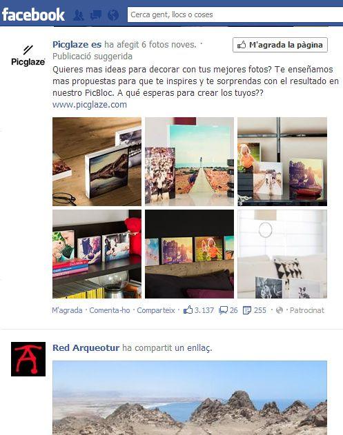 Exemple de publicitat integrada al mur de Facebook