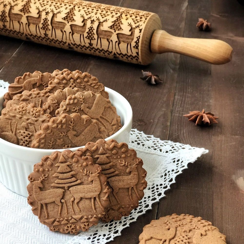 Christmas Rolling Pin Engraved Elk Snowflakes Animals Wooden
