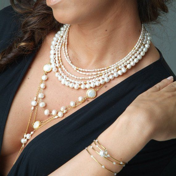 Long Gold Pearl Multi Layer Necklace In