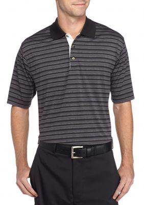 Pebble Beach™ Men's Classic-Fit Shadow-Striped Performance Golf Polo Shirt - Black