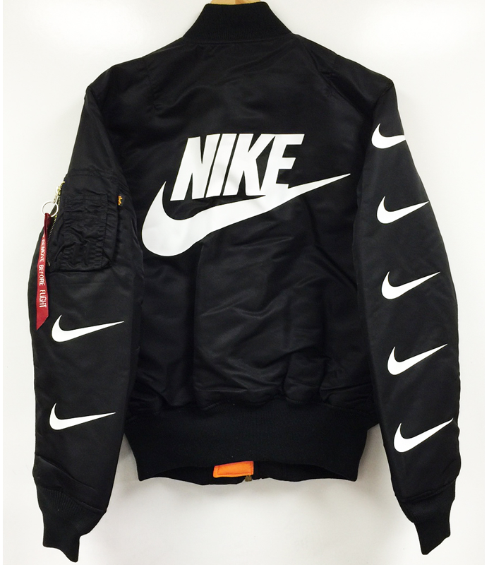 buy popular ba0f5 e94bc NIKE x PILLAGE MA-1 BOMBER FLIGHT JACKETColor  BlackHand Made In The  USASIZE DOWN FROM YOUR T SHIRT SIZE