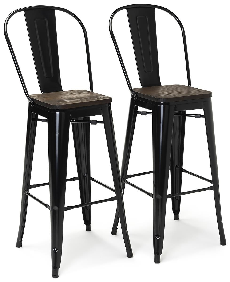 46 5 Counter Height Wood And Metal Stools Slat Back Foot Rest Set Of 2 Black In 2020 High Back Bar Stools Wood And Metal Foot Rest