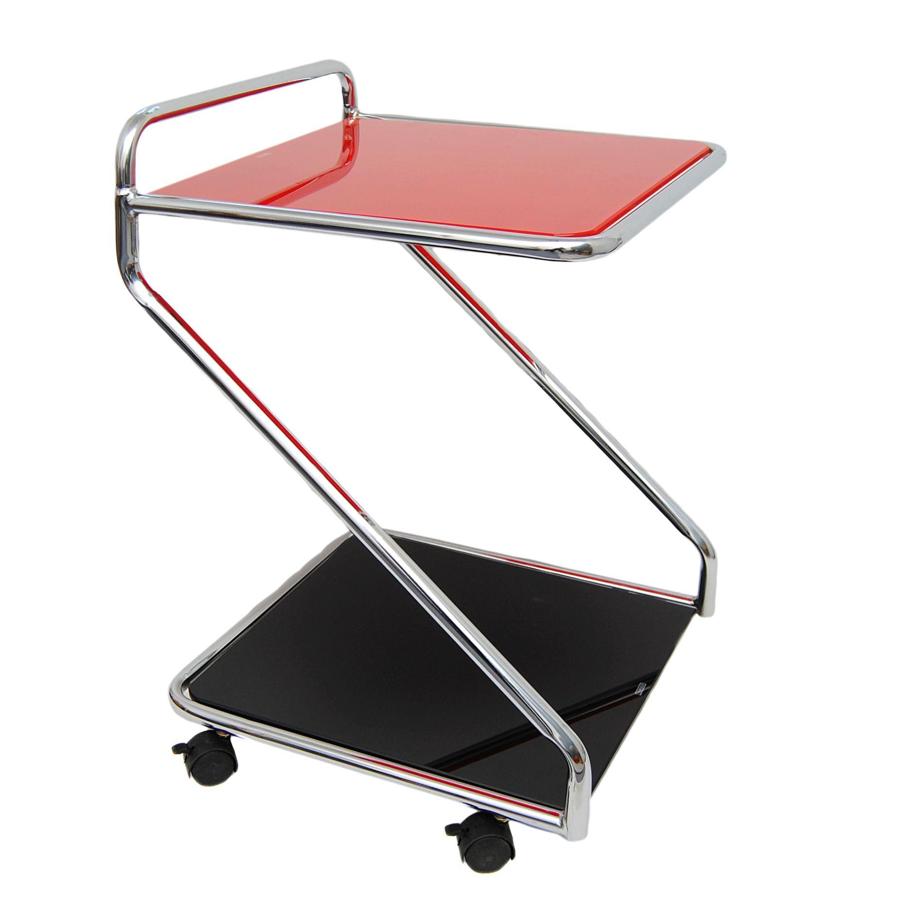 Servierwagen Glas eck beistell glastisch servierwagen rollwagen rot schwarz mit