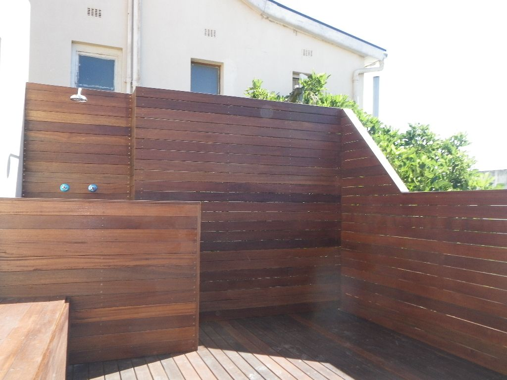 balau deck with shower