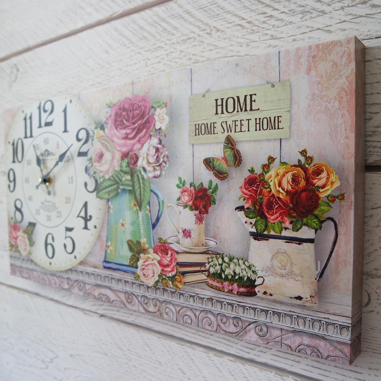 Shabby chic wooden home sweet home wall clock on floral - Cuadros shabby chic ...