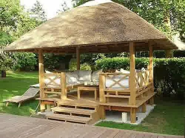 Outdoors Unique Outdoor Canopy Gazebo With Strew Roof Above Wooden Deck  Also Lazy Furniture From Wood