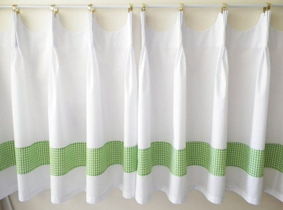 Scalloped Cafe Curtains With Green Gingham Band Etsy Cafe Curtains Curtains Curtains Width