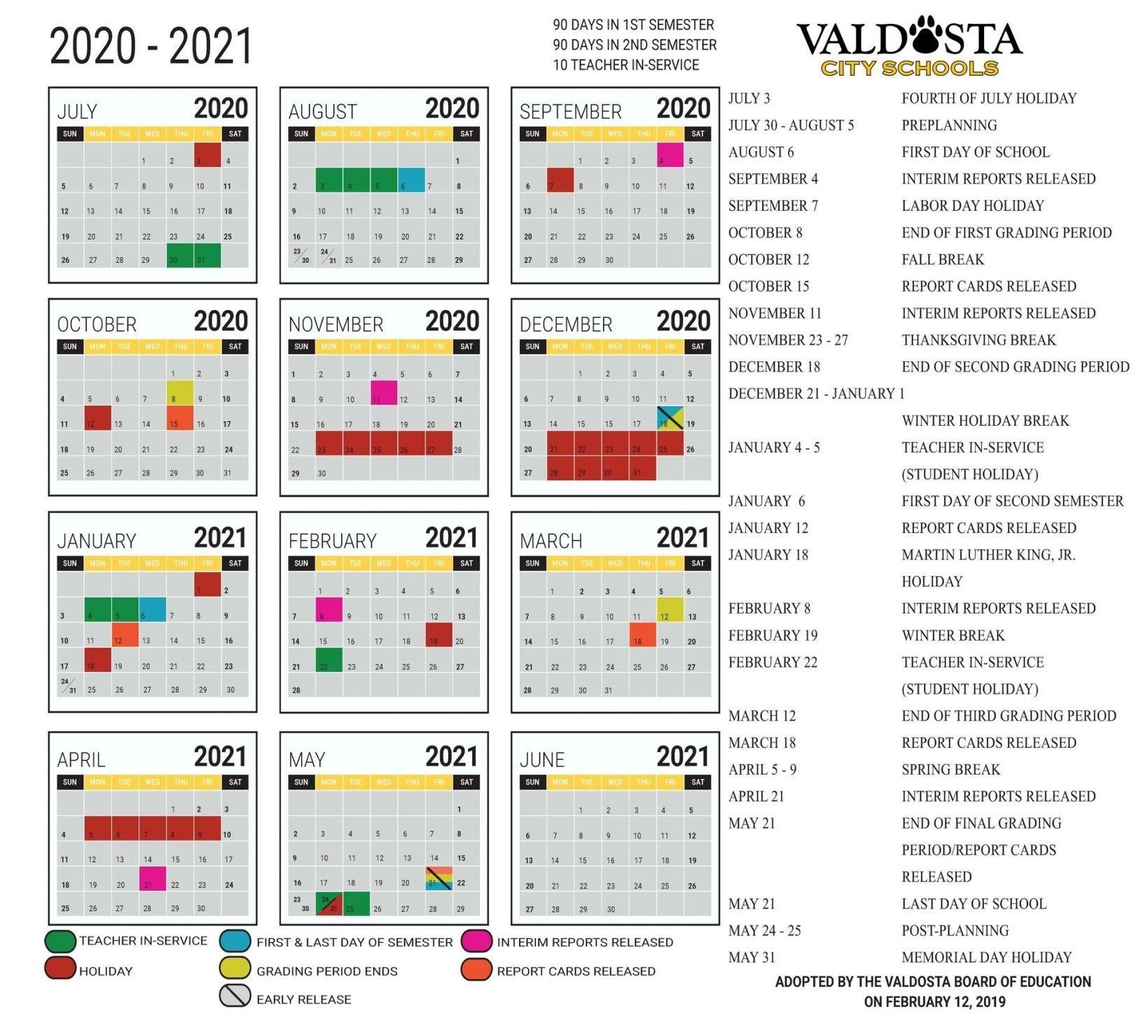 2020 2021 Academic Calendar Printable Di 2020