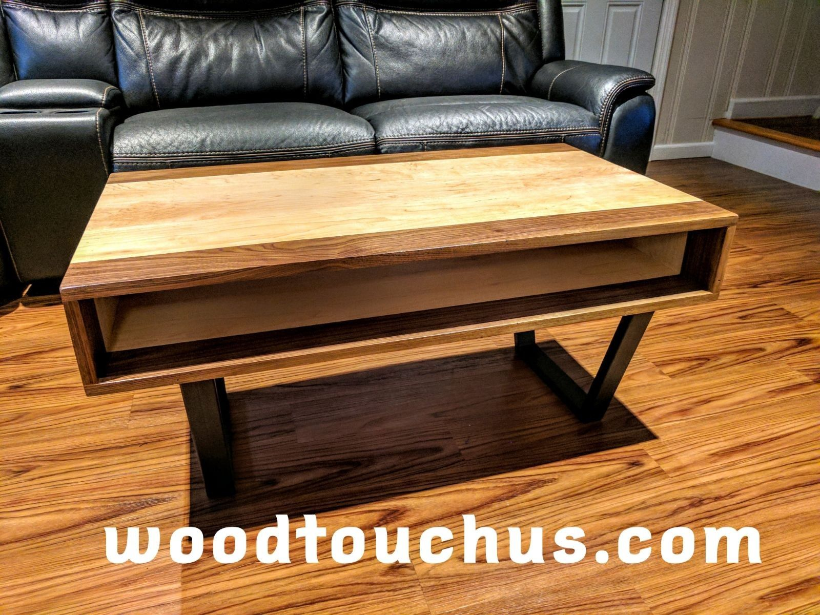 Beautiful Coffee Table Made Out Solid Black Walnut Wood And Hard Maple Wood With Custom Iron Legs Reclaimed Wood Furniture Rustic Wood Furniture Coffee Table