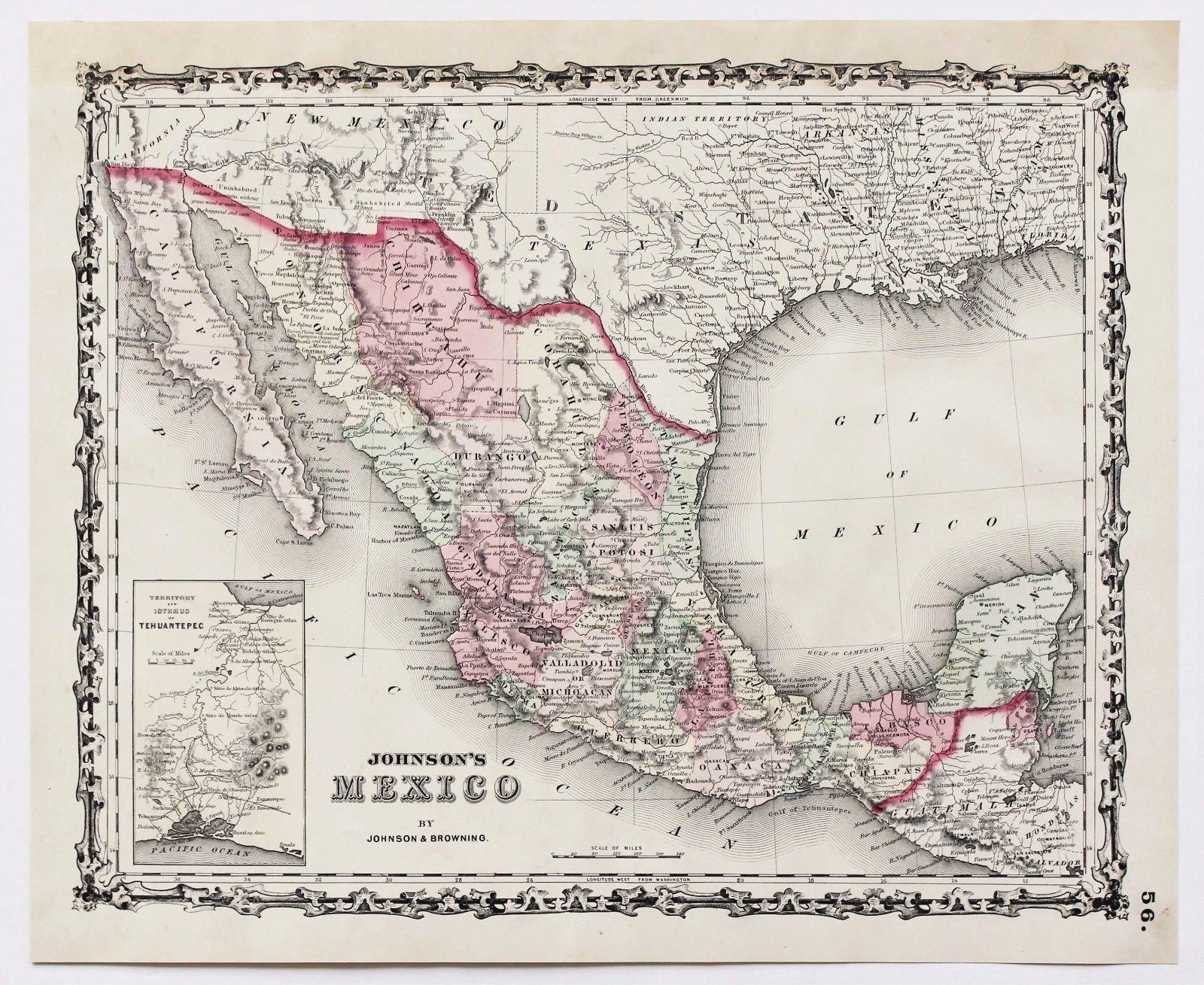 Map Of America In 1861.Antique 1861 Texas Mexico Map Central America Yucatan Baja