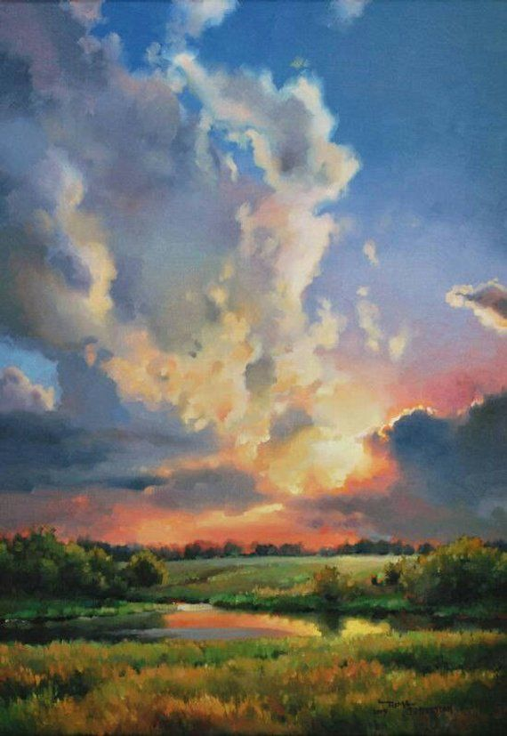 Picture On Canvas Oil Paintings Landscape Nature Very Etsy Easy Landscape Paintings Landscape Paintings Sky Painting
