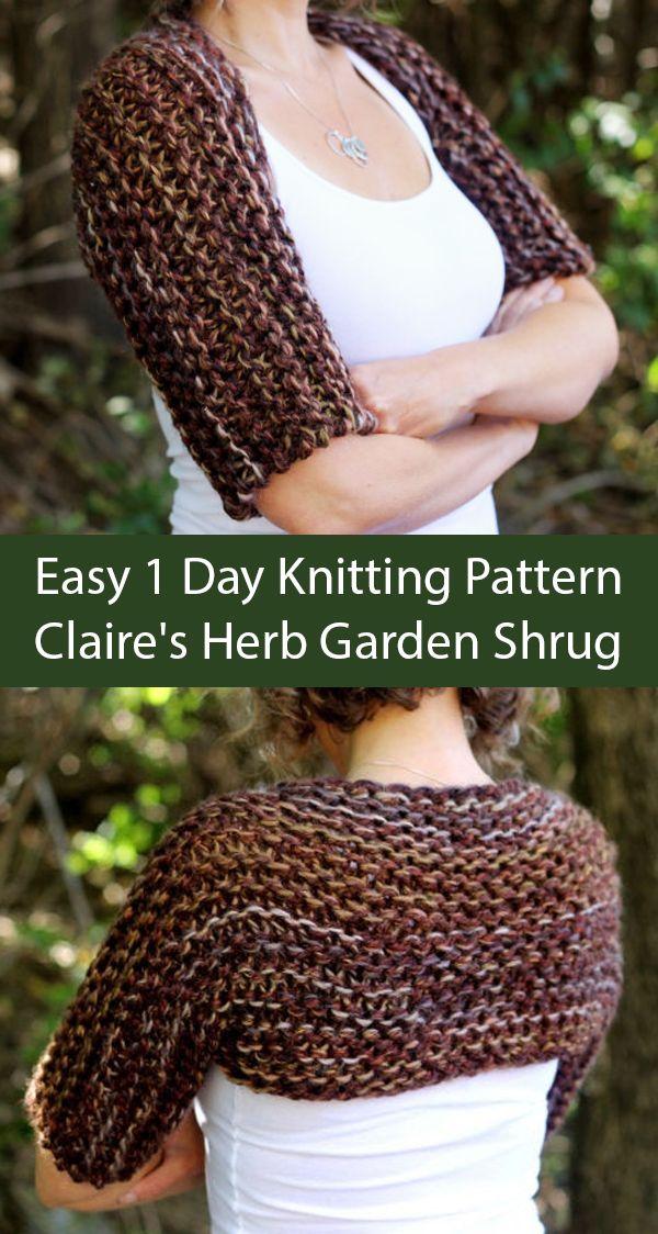 Easy 1 Day  Knitting Pattern for Outlander Inspired Claire's Herb Garden Shrug