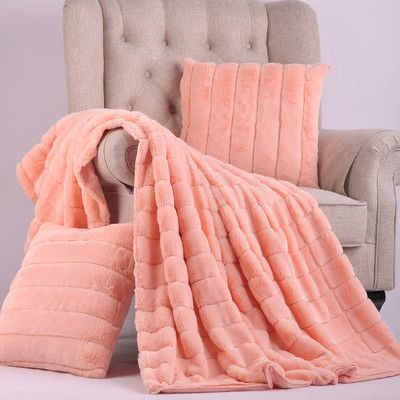 BOON Throw Blanket Luxury Rabbit Faux Fur Throw And Pillow Combo Inspiration Peach Colored Throw Blanket