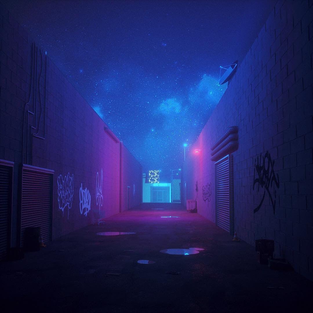 Blue Purple Viola Room Outside Graffitti Night