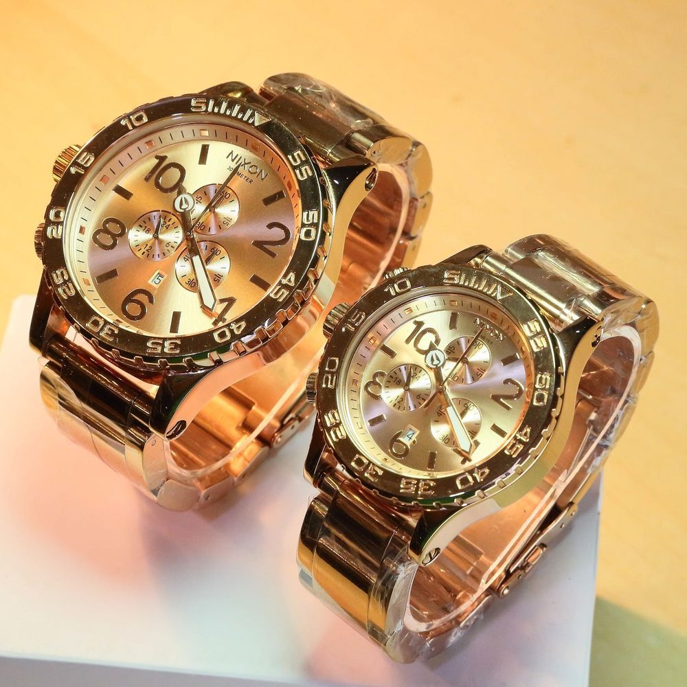 NEW NIXON 51-30, 42-20 Chrono ALL ROSE GOLD His and Hers Watch Set ...
