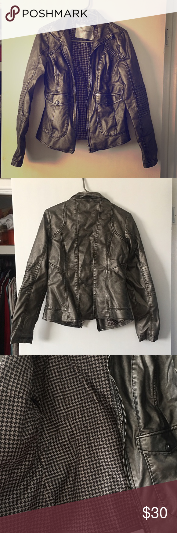 Uncategorized Leather Like Material adorable jacket metallic color lined with a wit