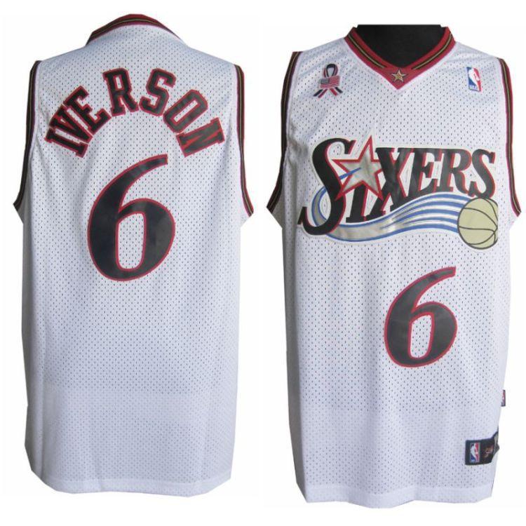 size 40 34261 2f529 NBA Philadelphia 76ers 6 Allen Iverson Soul Throwback ...