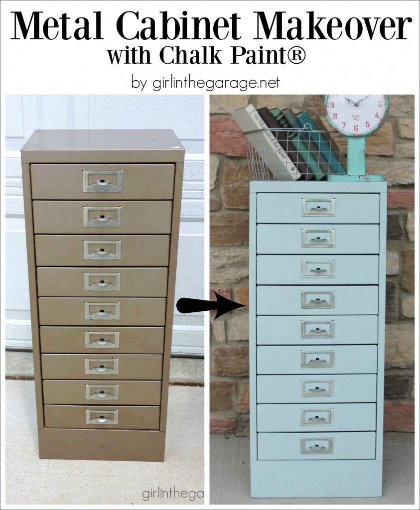 Painted Metal Cabinet Makeover With Chalk Paint In The Garage