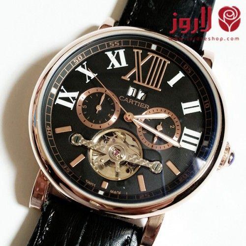 ساعة كارتير Cartier رجالي جلد اسود مع برونزي من لاروز اسواق التجارة السعودية Breitling Breitling Watch Accessories