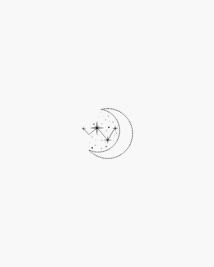 Photo of Small Moon Tattoo Design, Minimal Art, Constellation Tattoo, Simple Star Tattoo, Outlined …
