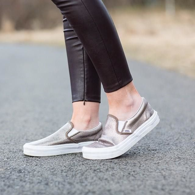 vans slip on metallic
