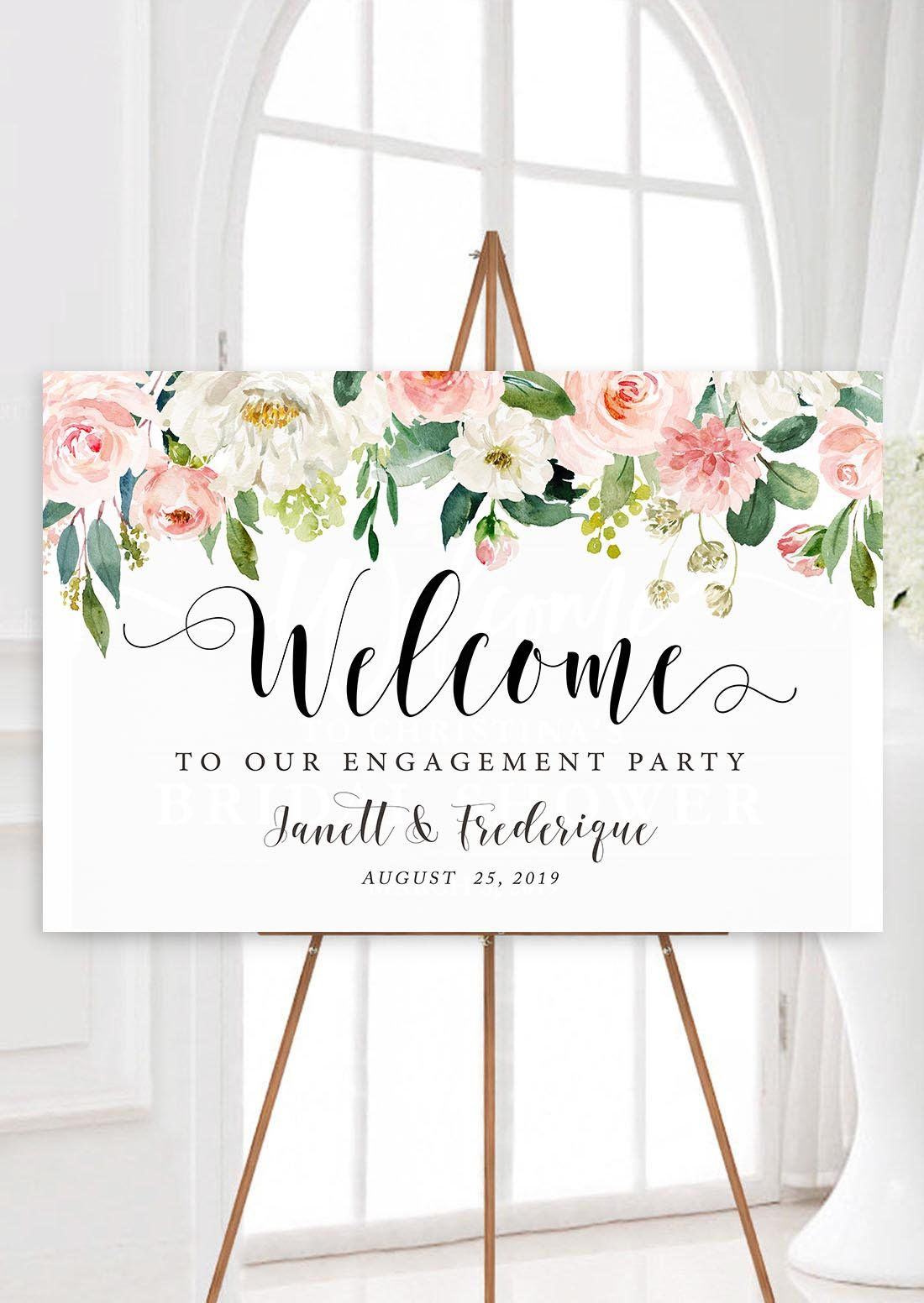 picture relating to Printable Welcome Sign named Personalized Engagement Get together Signal, Printable Welcome toward Our