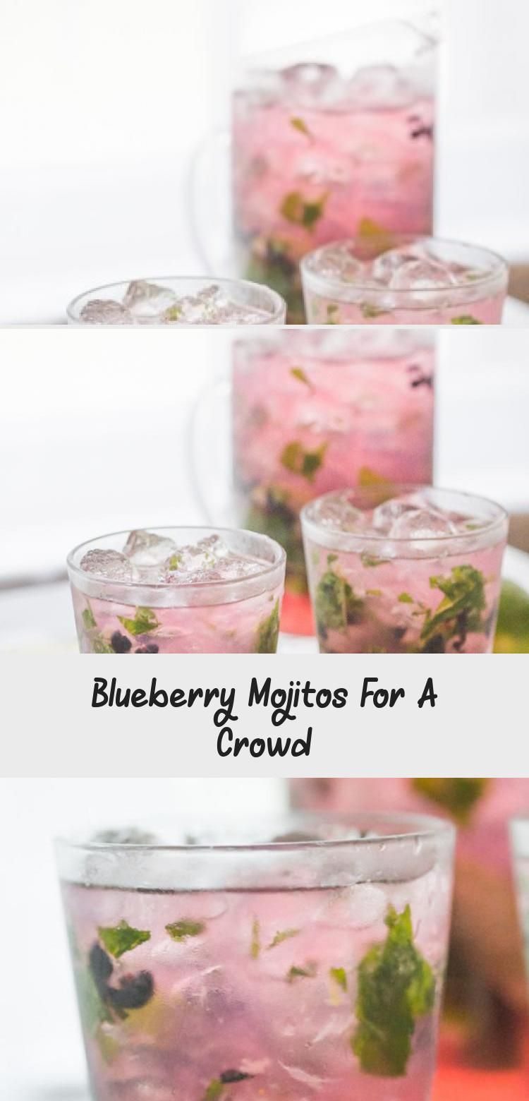 Minty and fruity, light and easy, this larger batch blueberry mojito recipe is the perfect cocktail for spring and summer entertaining! #diycocktailEasy #diycocktailBar #diycocktailWedding #diycocktailVideos #diycocktailTable #blueberrymojito