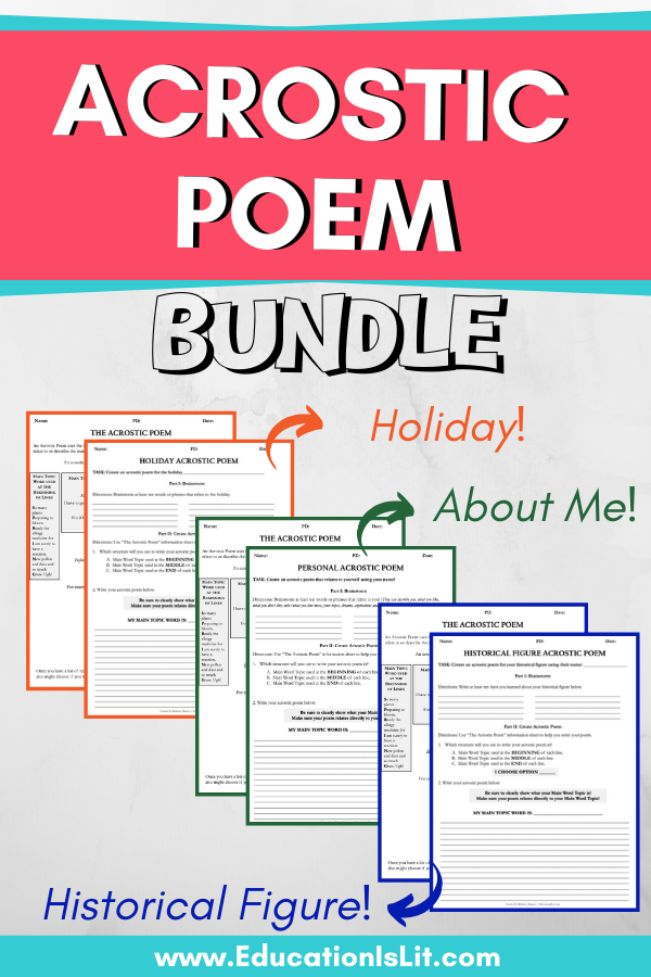 Acrostic Poem Assignment Bundle Education Is Lit High School English Lesson Plans Poem Activities Acrostic
