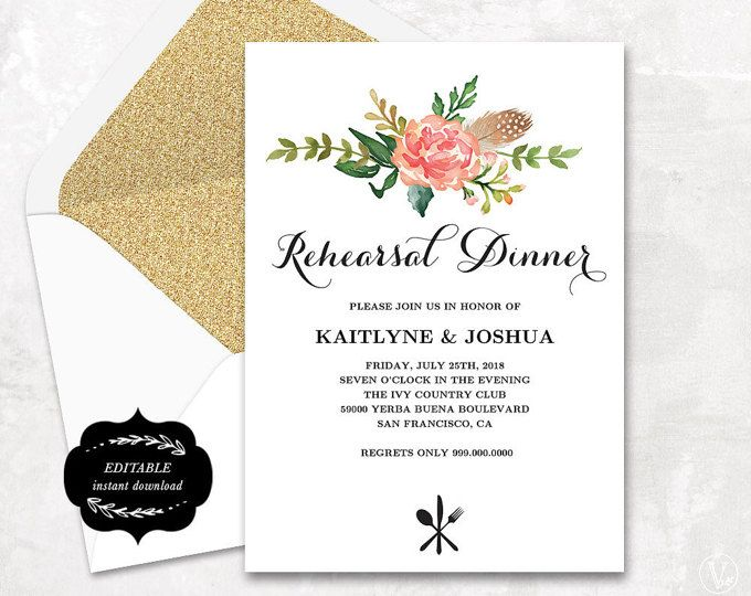 Printable Rehearsal Dinner Invitation Card Template Floral Boho R Rehearsal Dinner Invitation Template Dinner Invitation Template Rehearsal Dinner Invitations