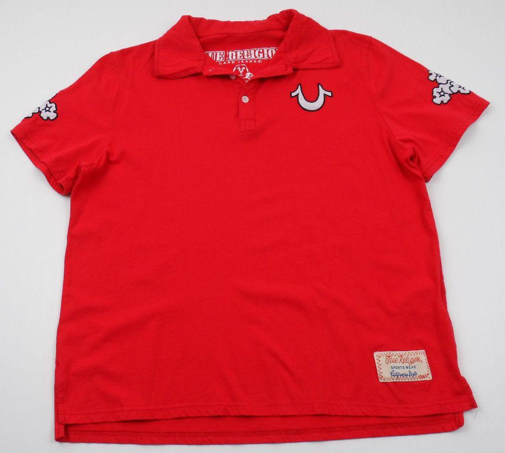 True Religion California Style Polo Shirt Boys Size Xl Red Cotton
