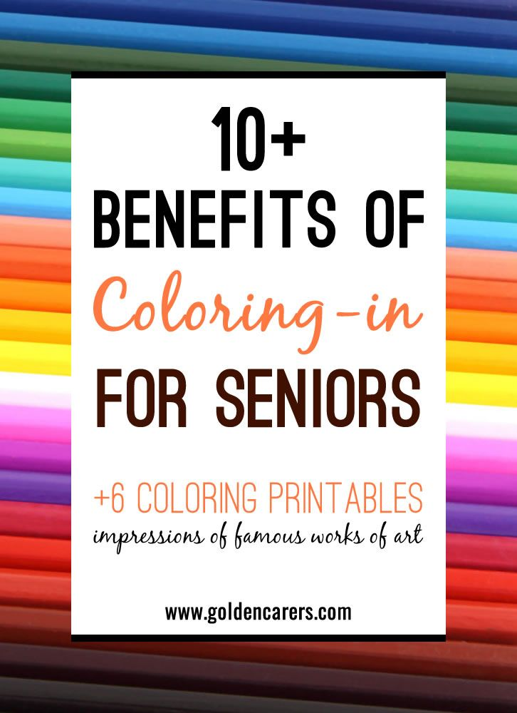 Coloring for seniors is a therapeutic and satisfying activity. Research into the effects of coloring activities for people living with dementia show positive outcomes, most notably a decrease in agitation and anxiety.