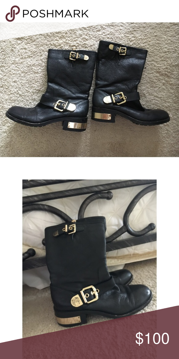 c4f214a2d9692 Vince Camuto black and gold short boots Gold buckles Vince Camuto Shoes  Ankle Boots & Booties