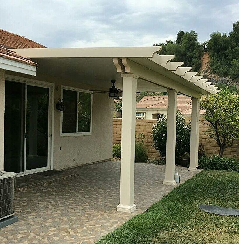 Solid Alumawood Patio Cover With Square Fiberglass Columns Columns Patiocovers Aluminumpatiocover Alum Aluminum Patio Covers Aluminum Decking Covered Patio