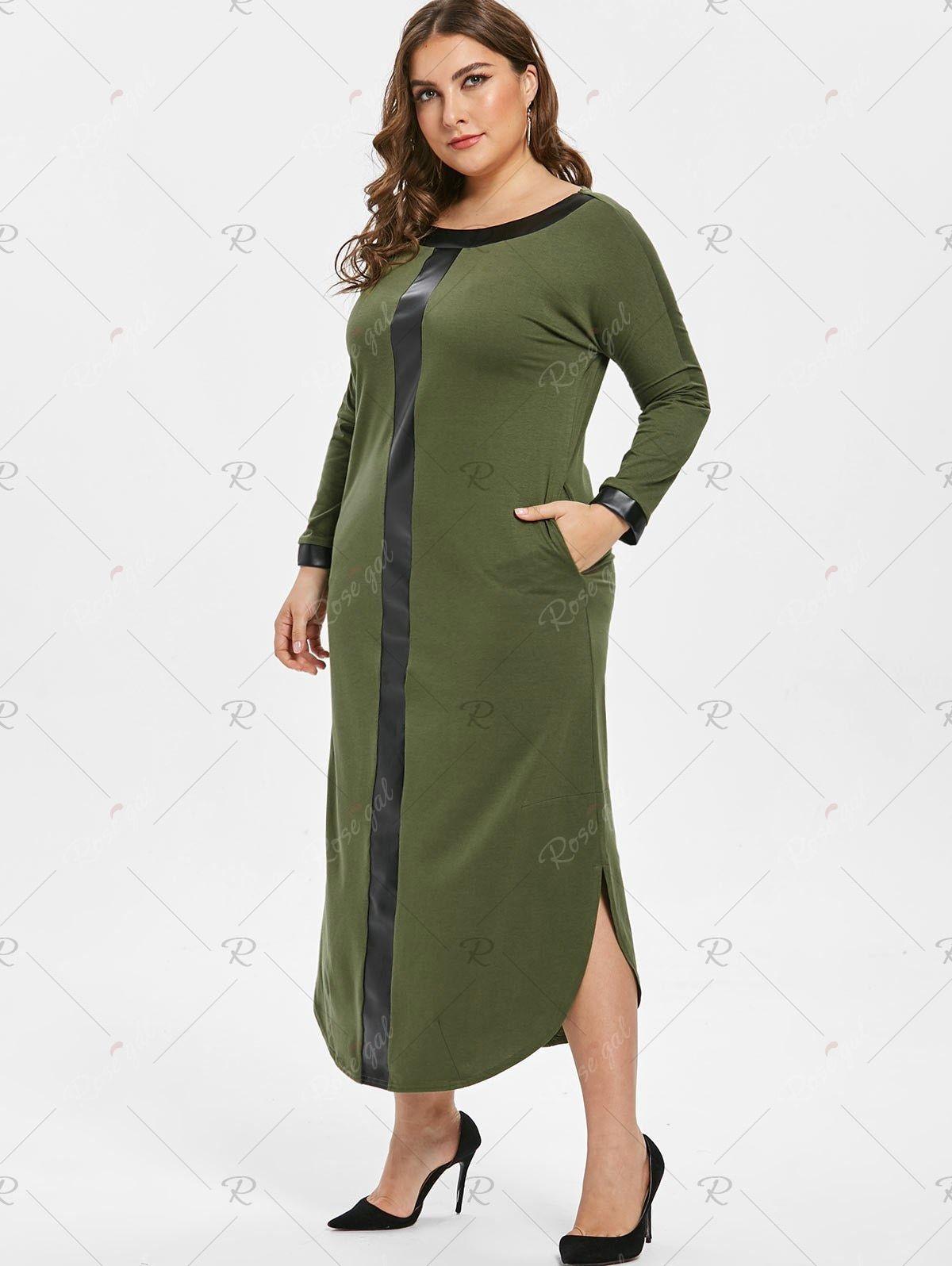 Round Neck Plus Size Two Tone Maxi Dress Maxi Dress Dresses Straight Dress [ 1596 x 1200 Pixel ]