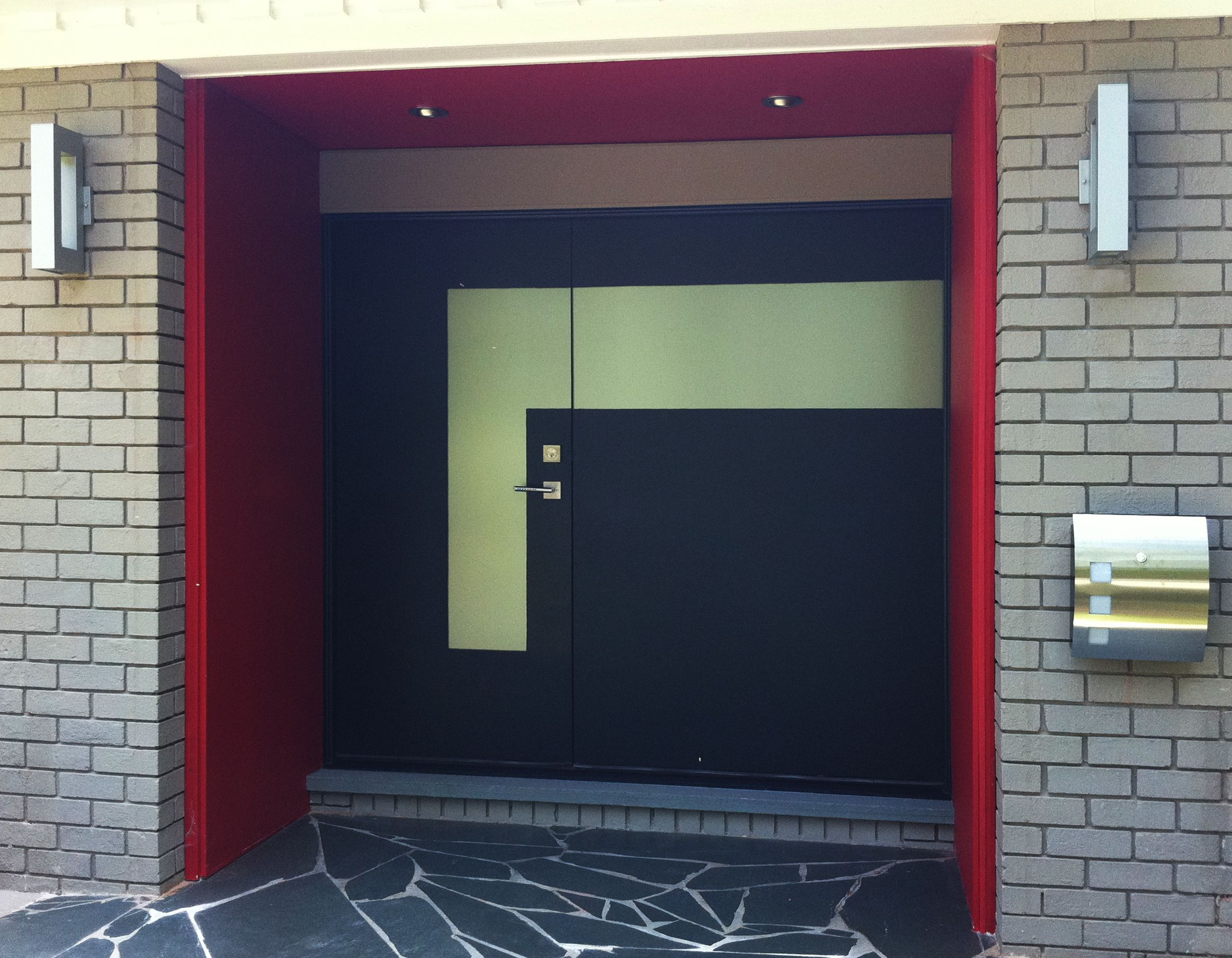 Home design attractive black custom modern front doors with red very popular black custom modern front door with stainless steel lock handle entrance door and chrome accesories pattern inside as well as red acrylic rubansaba