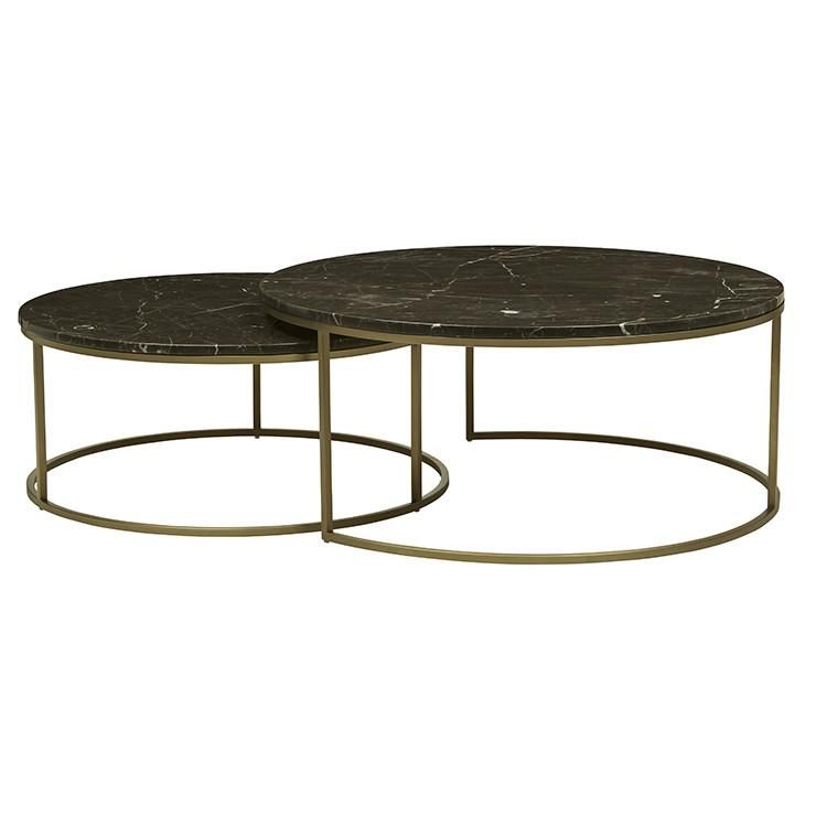 Elle Round Marble Nest Coffee Tables Gold Frame Brown Marble The