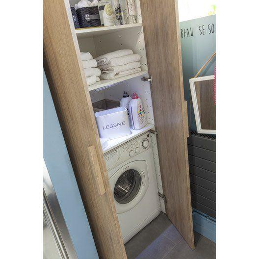 Caisson Spaceo Home Blanc H 200 X L 80 X P 60 Cm Idee Salle De Bain Amenagement Salle De Bain Lave Linge Salle De Bain